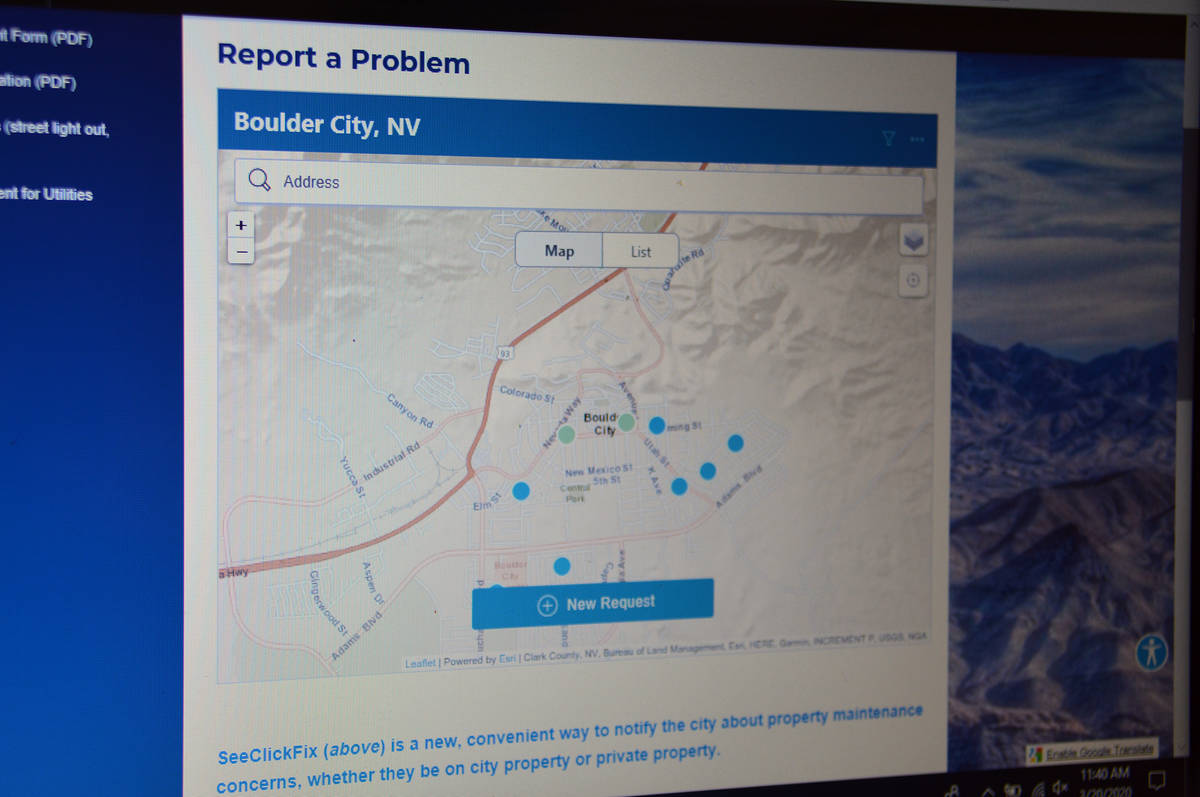 Celia Shortt Goodyear/Boulder City Review The city has launched a new program, SeeClickFix, th ...