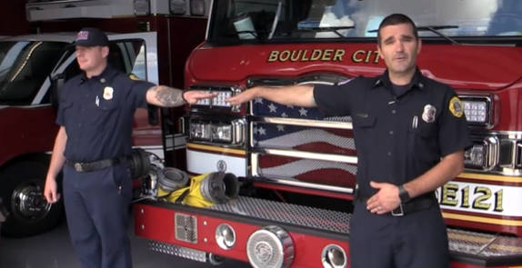 Boulder City Boulder City firefighter and paramedics Josh Barrone, left, and Jay Dardano demons ...