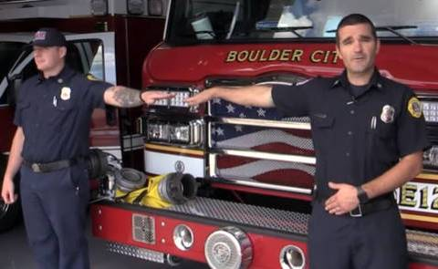 Boulder City Boulder City firefighter and paramedics Josh Barrone, left, and Jay Dardano demons ...