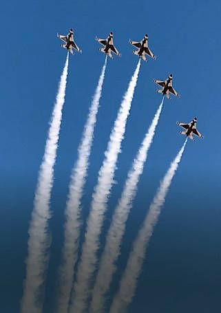 Andy Saylor The United States Air Force Thunderbirds fly over Boulder City on Saturday, April 1 ...