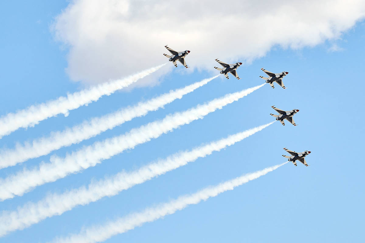 (Kirstie Rogers) The Air Force Thunderbirds sent a formation that featured F-16 Fighting Falcon ...