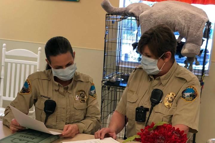(Boulder City Animal Shelter) Boulder City Animal Control officer Rebecca Schuster, left, and A ...