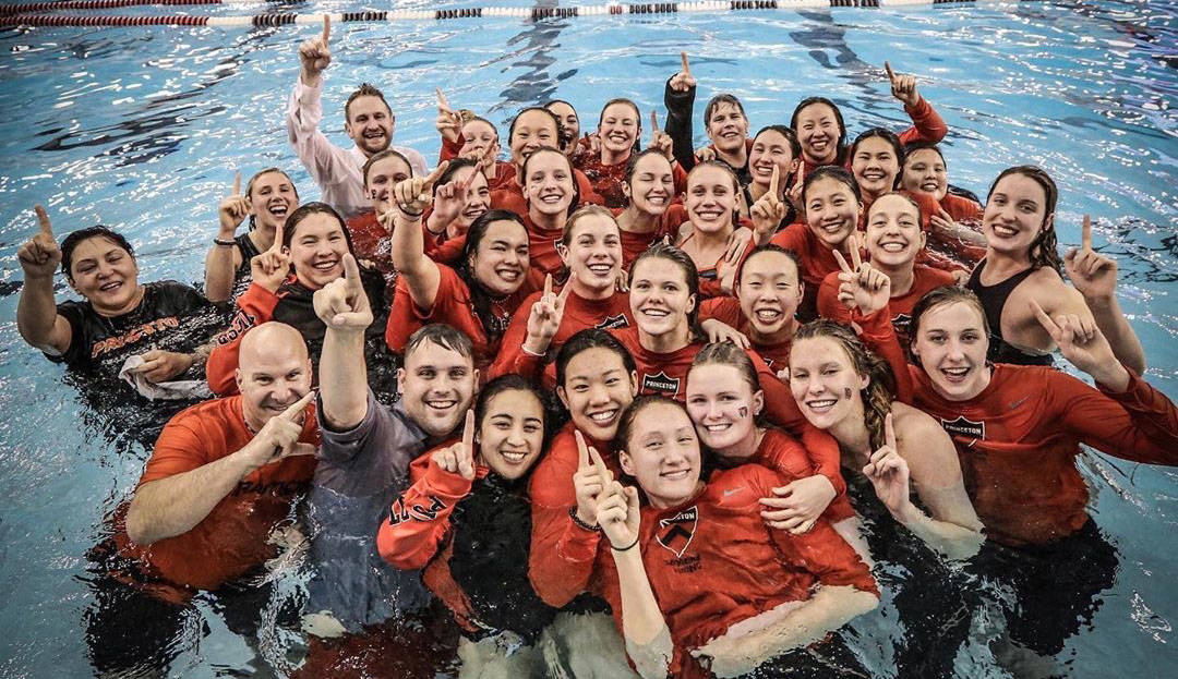 (Bret Lundgaard) Bret Lundgaard, in back at left, Princeton University's head swim coach ...