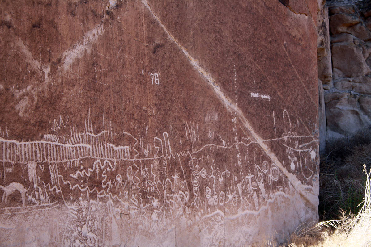 (Deborah Wall) Intricate patterned rock art can been seen at Basin and Range National Monument, ...