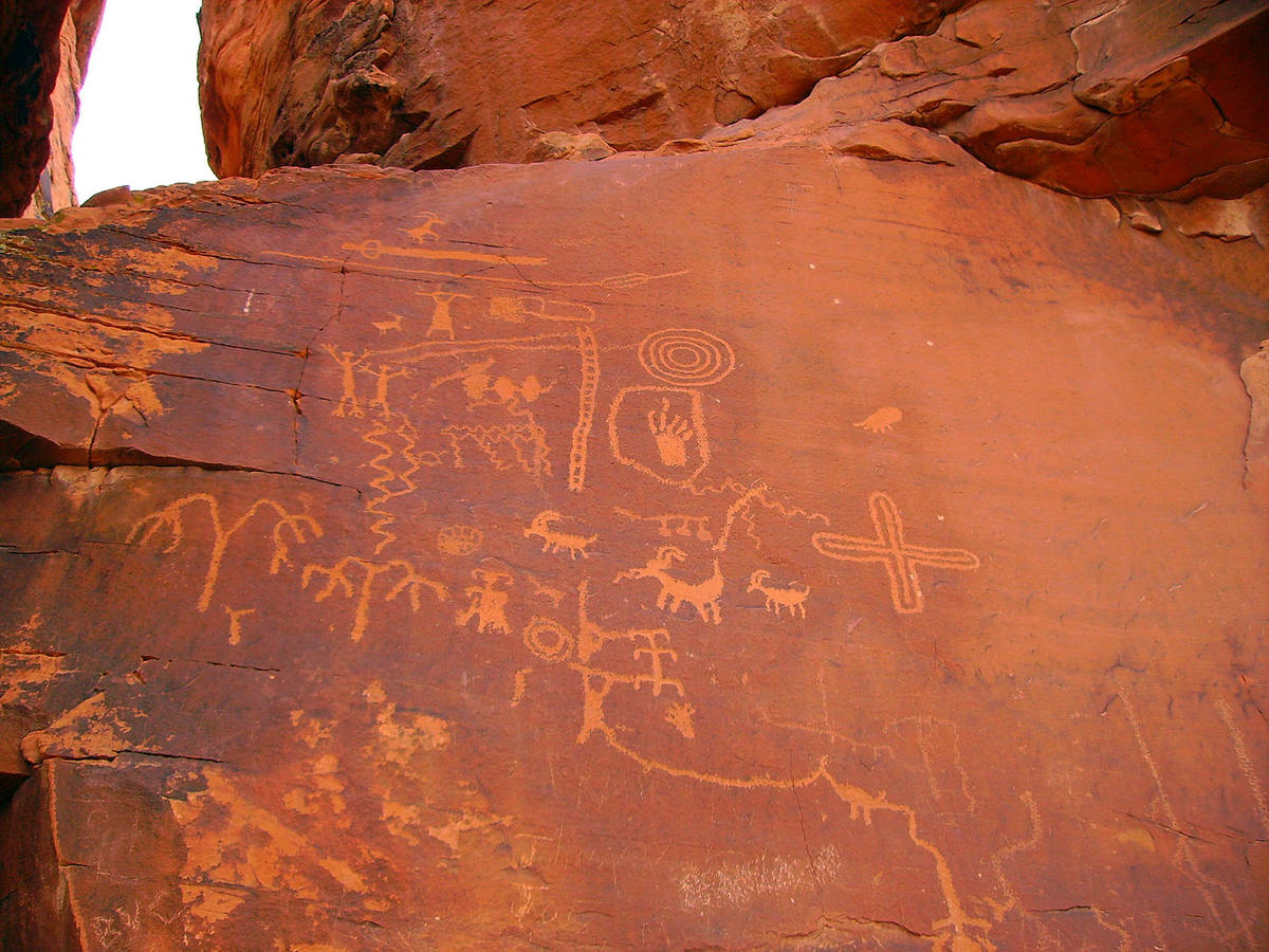 (Deborah Wall) These petroglyphs are found at Atlatl Rock in Valley of Fire State Park, which i ...