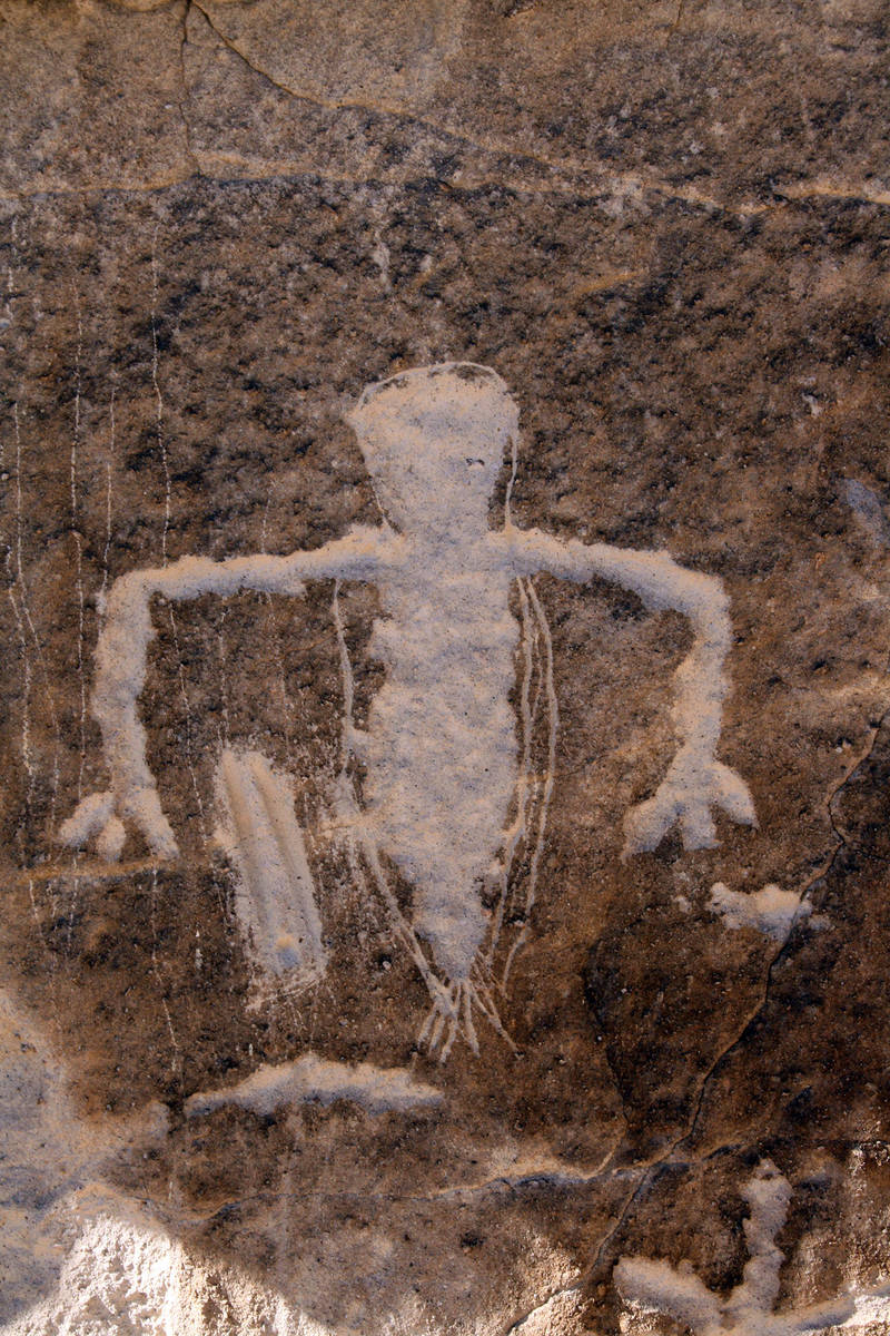 "(Deborah Wall) This well-defined petroglyph is found in the ""Amphitheater"" at Whi ..."