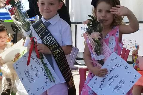 Asher Stewart, left, and Kinsley Irwin were crowned Little Mister and Little Miss Boulder City ...