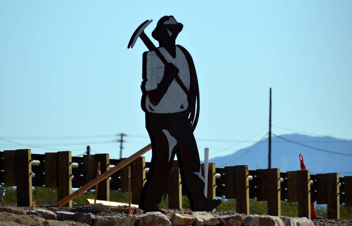 Celia Shortt Goodyear/Boulder City Review Miners in hard hats were created out of two types of ...