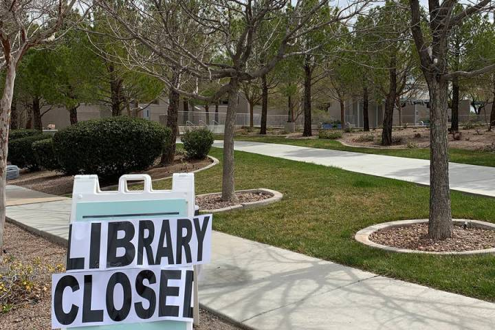 In response to the global COVID-19 pandemic, the Boulder City Library, as seen March 16, has cl ...