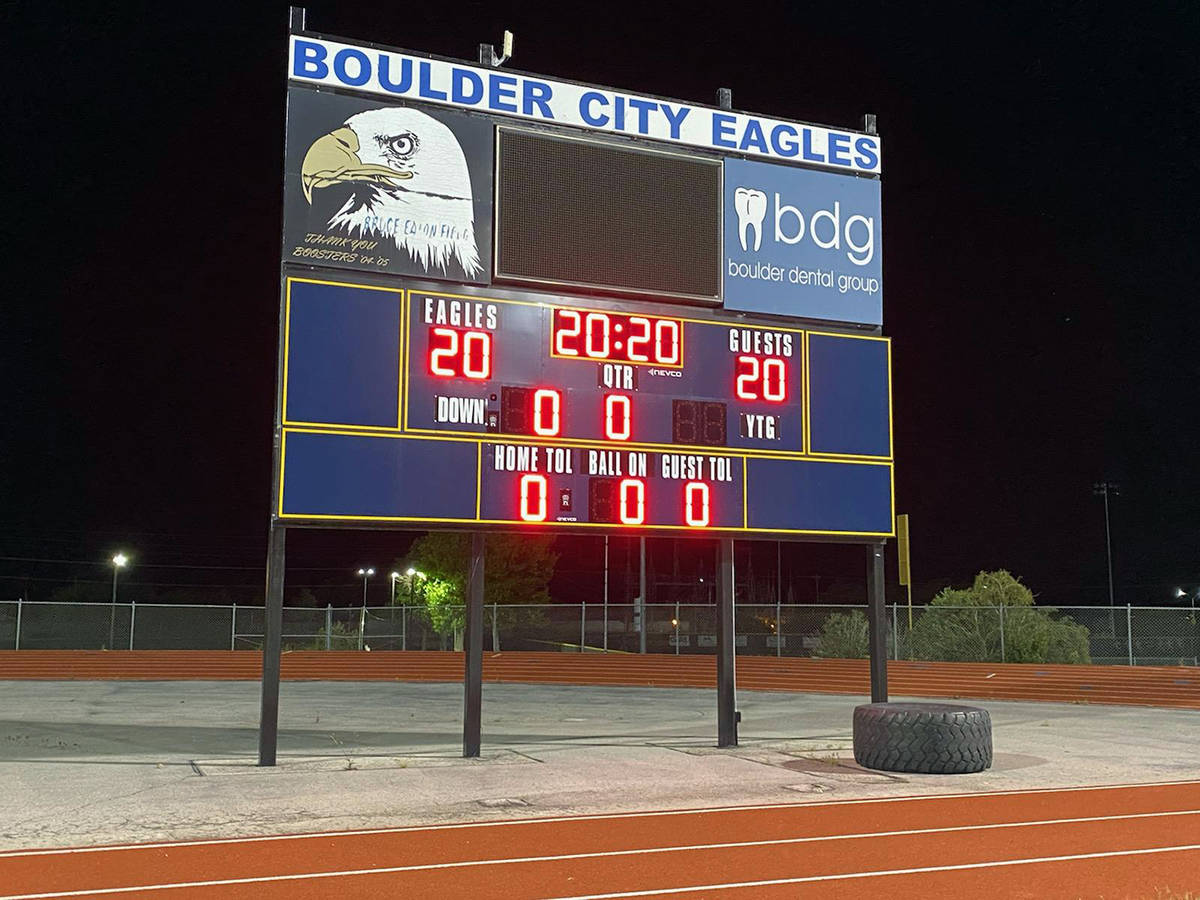 Amy Wagner The scoreboard at Bruce Eaton Field at Boulder City High School honored the class of ...