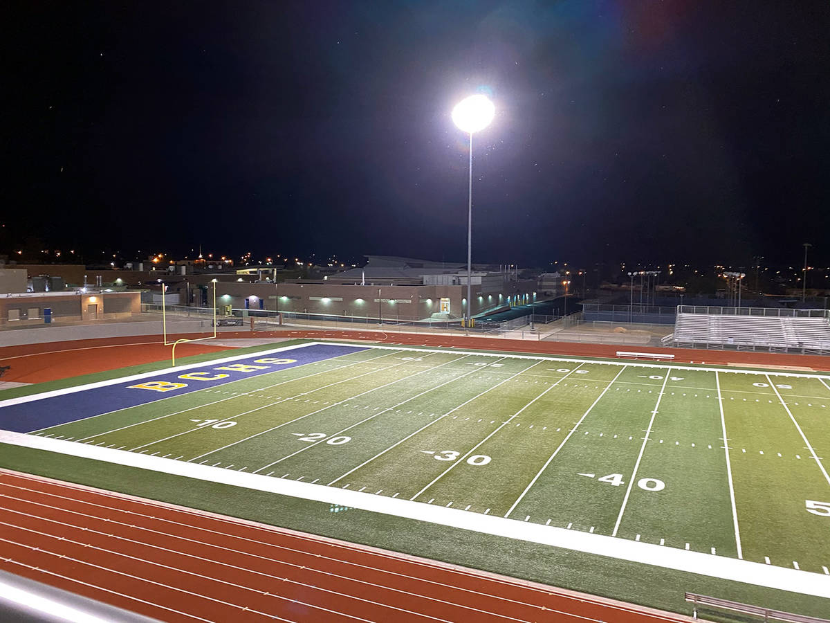 Amy Wagner The lights at Bruce Eaton Field at Boulder City High School were lit Friday, April 2 ...