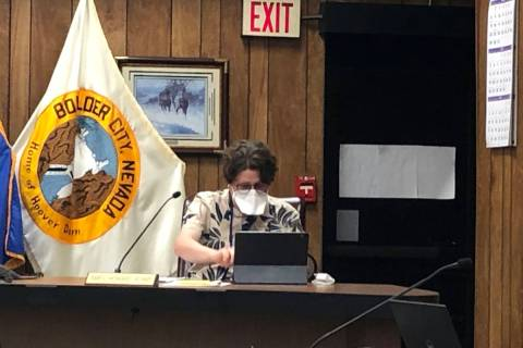 Boulder City Councilman James Howard Adams wears a mask at Tuesday's, April 28, council meetin ...