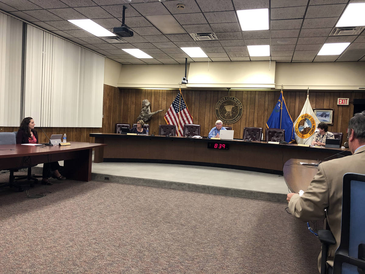 Boulder City Social distancing practices were exercised at Tuesday's, April 28, City Council me ...