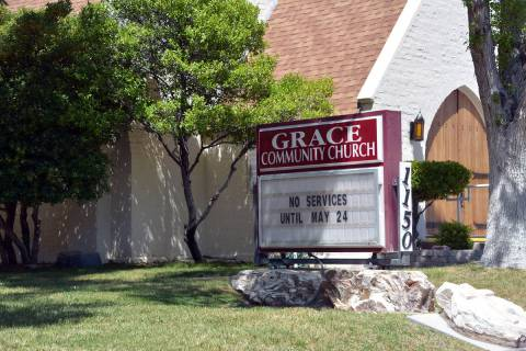 (Celia Shortt Goodyear/Boulder City Review) Grace Community Church has been posting church serv ...