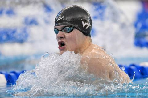 (Virginia Tech) AJ Pouch, seen swimming in the ACC's swimming and diving championship in Gree ...