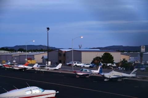 A man who holds leases for several hangars at the Boulder City Municipal Airport was trespassed ...