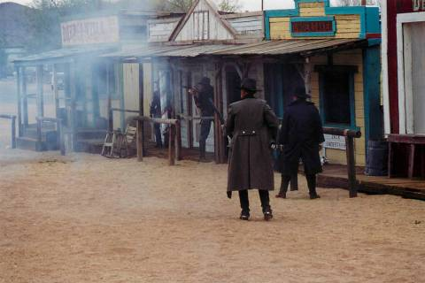 Gunfights, such as this re-enactment in Chloride, Arizona, were routine in Pioche in the early ...