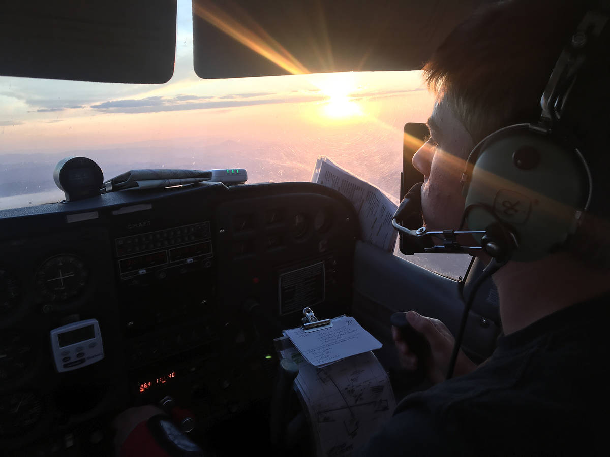 Joel Smith Landon Key completes a flight during his pilot training. Key earned his commercial p ...