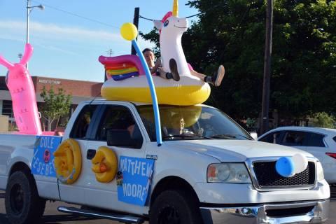 Celia Shortt Goodyear/Boulder City Review Cole Barber rides a unicorn float down California Ave ...