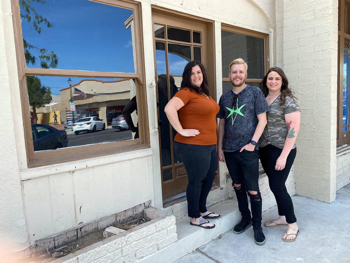 DAM Roast House Boulder City friends, from left, Misty Magruder, Travis Wallgren and Amber Step ...