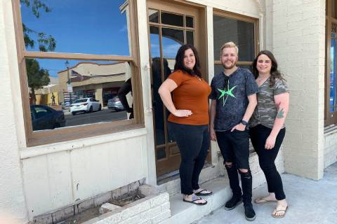 DAM Roast House Boulder City friends, from left, Misty Magruder, Travis Wallgren and Amber Step ...