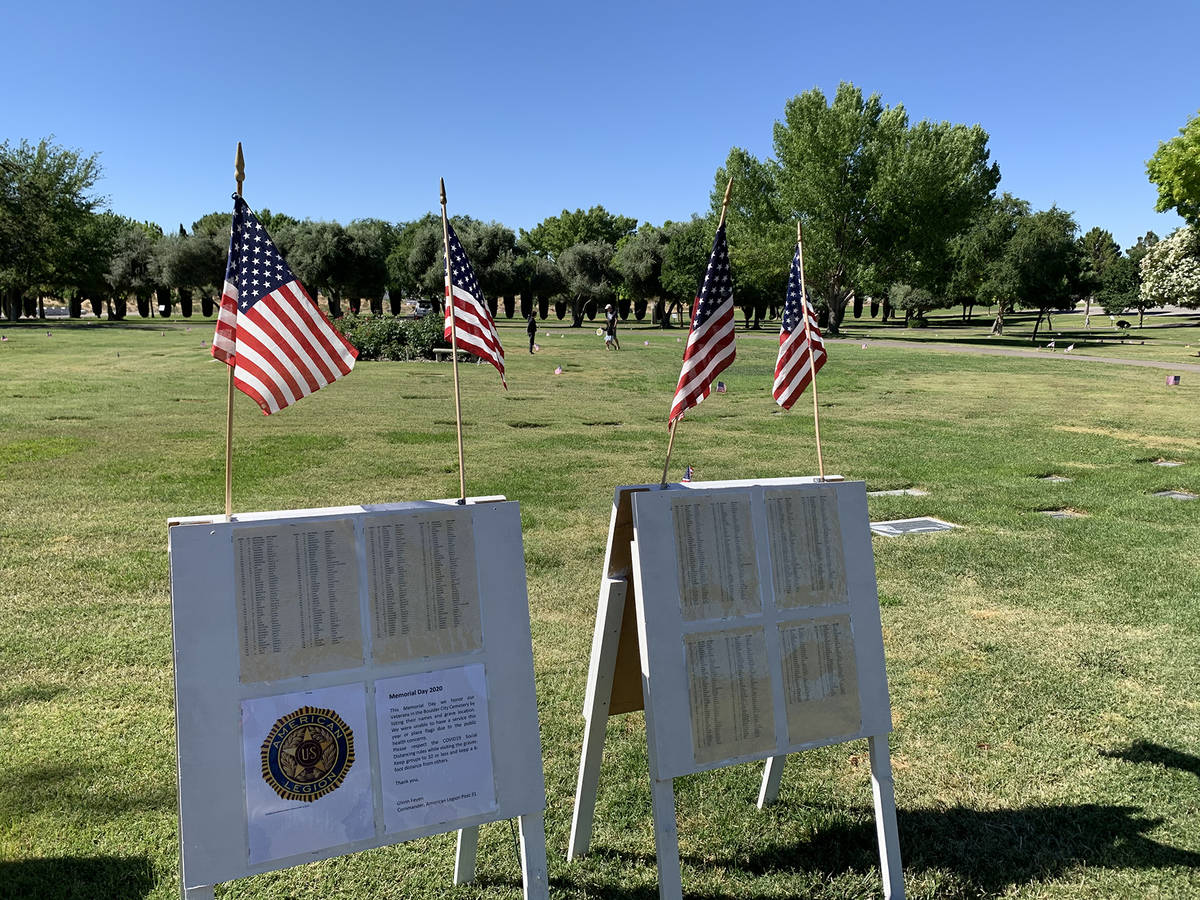 (Hali Bernstein Saylor/Boulder City Review) A sign listing all the veterans buried in the Bould ...