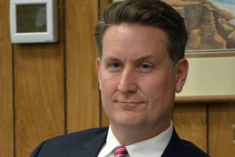 Celia Shortt Goodyear/Boulder City Review City Attorney Steve Morris listens to a resident comm ...