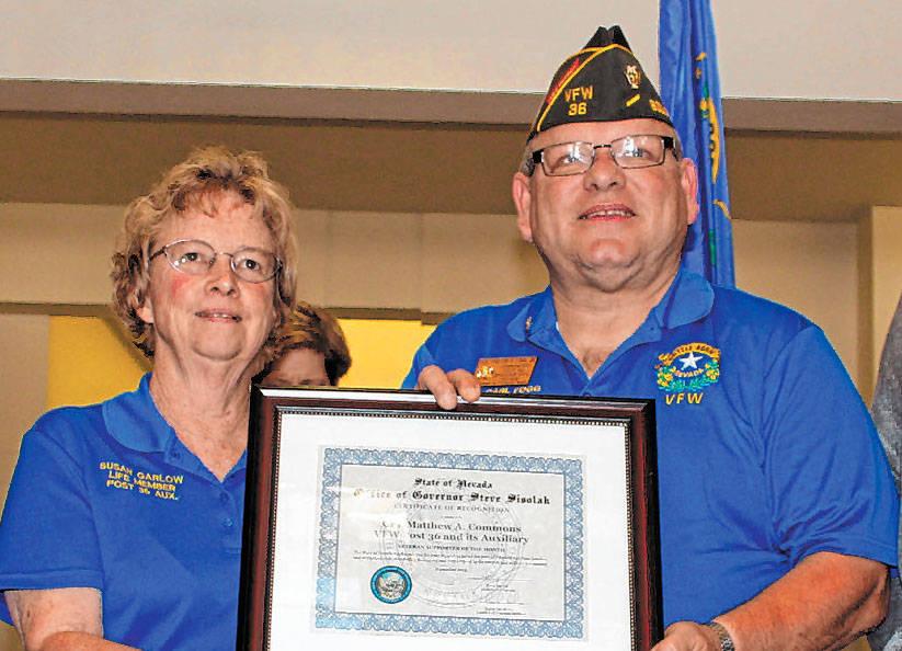 (Nevada Department of Veterans Services) The Rev. Carl Fogg Jr. accepts the Veteran Supporter o ...