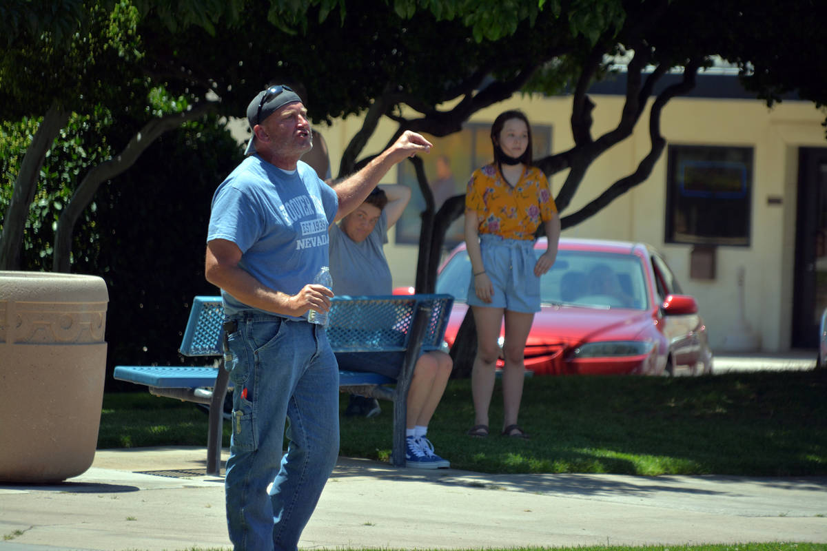 Celia Shortt Goodyear/Boulder City Review Robert Bennett participates in a peaceful protest for ...