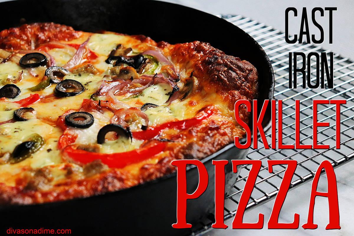 (Patti Diamond) A cast iron skillet creates enough heat to cook pizza crust so that it mimics t ...