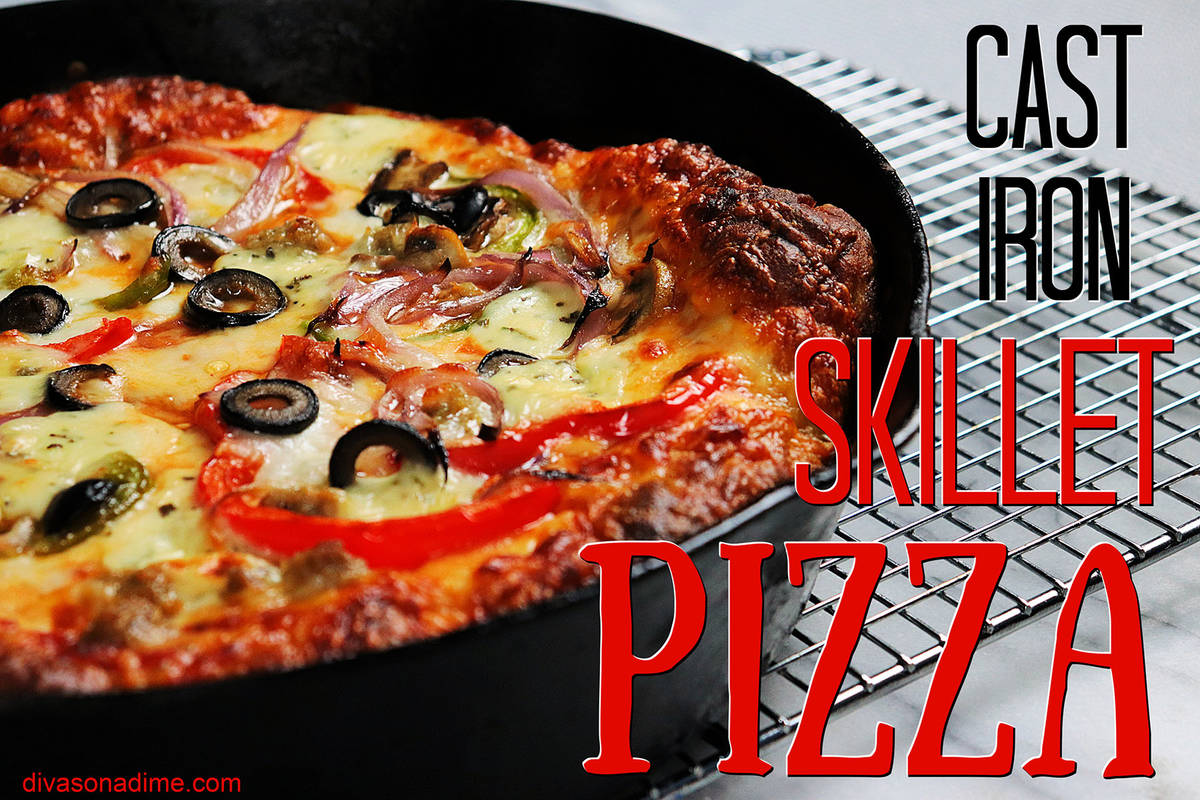 (Patti Diamond) A cast iron skillet creates enough heat to cook pizza crust so that it mimics t ...