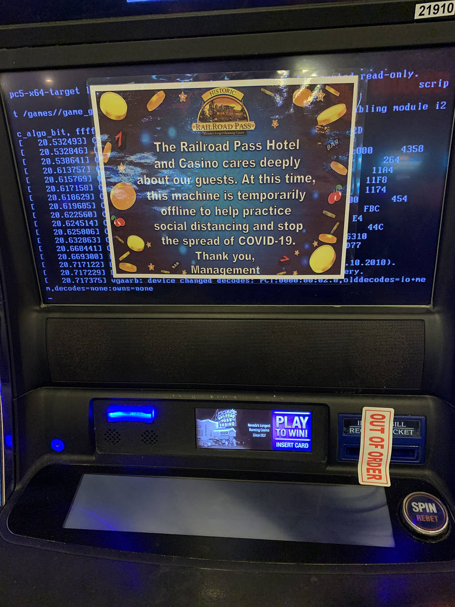 (Hali Bernstein Saylor/Boulder City Review) Numerous slot machines remain turned off at the Rai ...