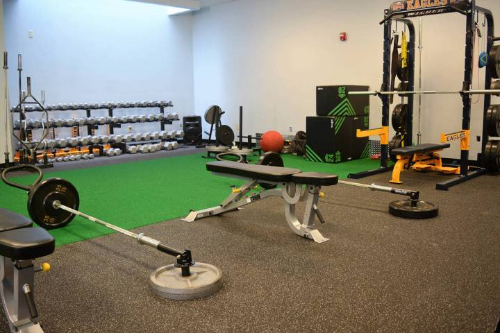 Members of Boulder City High School's football team can resume training in their weight room un ...