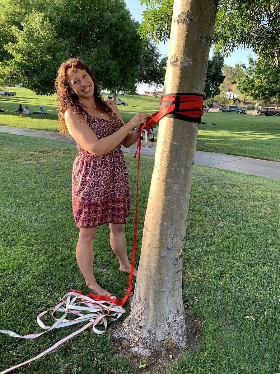 (Hali Bernstein Saylor/Boulder City Review) Selina Kasold of Boulder City prepares to slackline ...