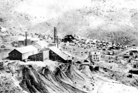 Nevada Historical Society) The dry mining process to extract gold from quartzite at the stamp m ...