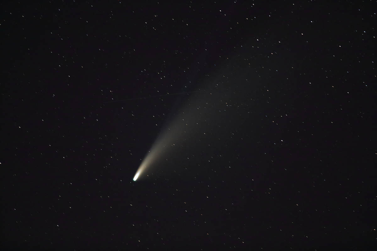 Robert Pernett took this photo of Comet NEOWISE between 9:20 and 9:50 p.m. July 16, 2020, at Co ...