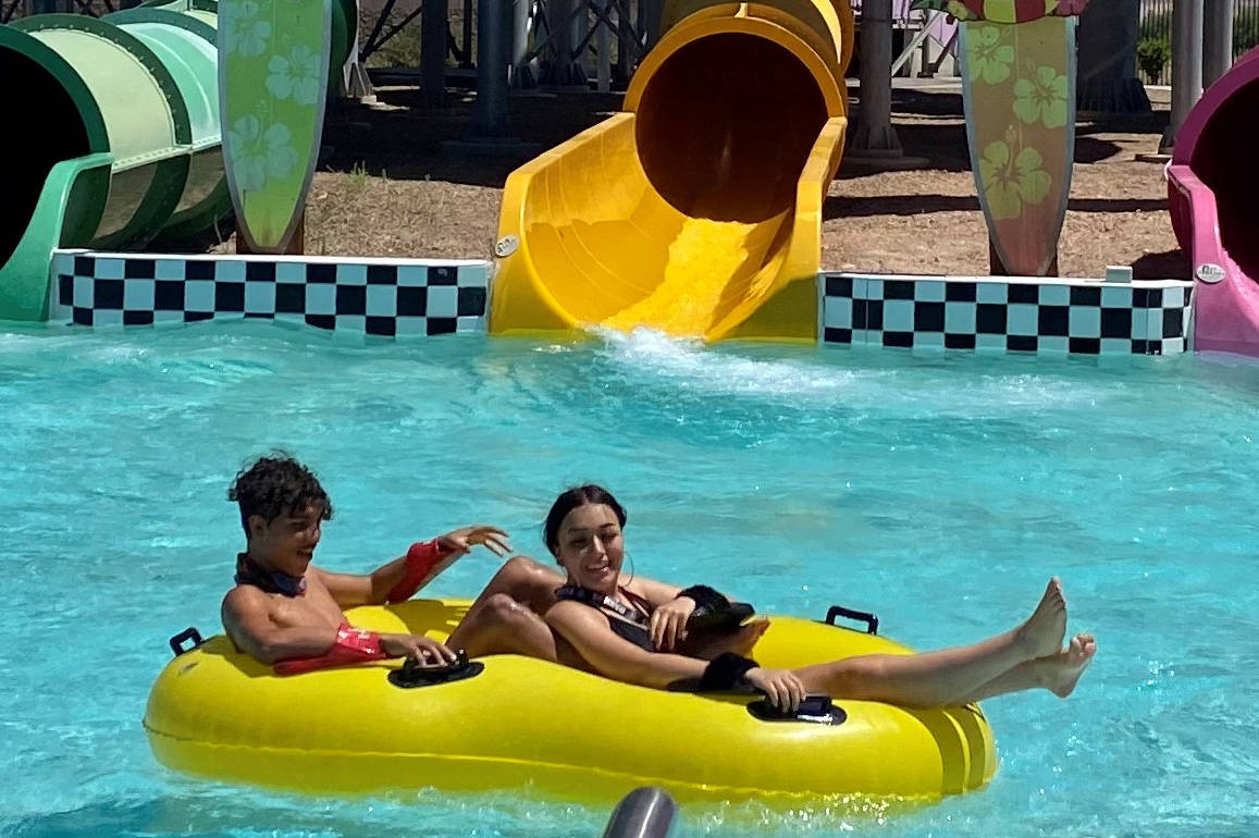 Paige Candee Anthony Simon and Marilyn Bazaldua enjoy some time in the sun during a July 15 vis ...
