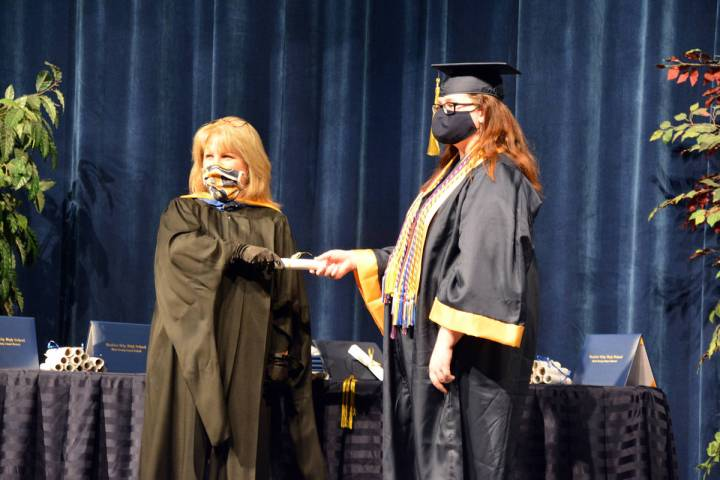 Celia Shortt Goodyear/Boulder City Review Boulder City High School Principal Amy Wagner, left, ...