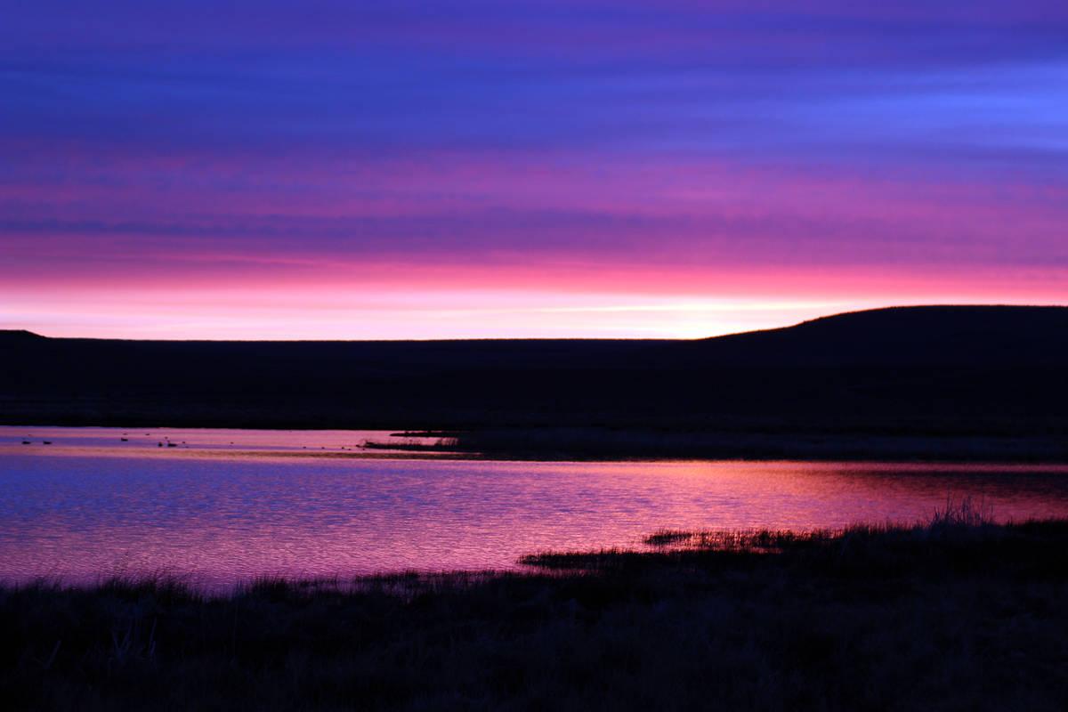 Deborah Wall A stunning sunrise at Catnip Reservoir, Sheldon National Wildlife Refuge, Nevada.