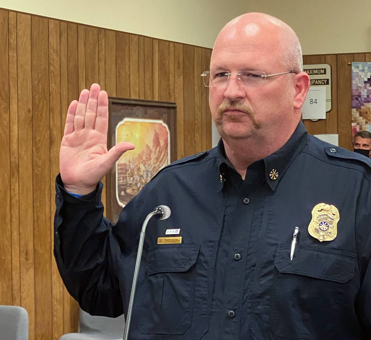 (Boulder City) Greg Chesser is sworn in as the Boulder City Deputy Fire Chief at the beginning ...