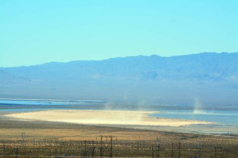 (Celia Shortt Goodyear/Boulder City Review) The dry lake bed in the Eldorado Valley will not be ...