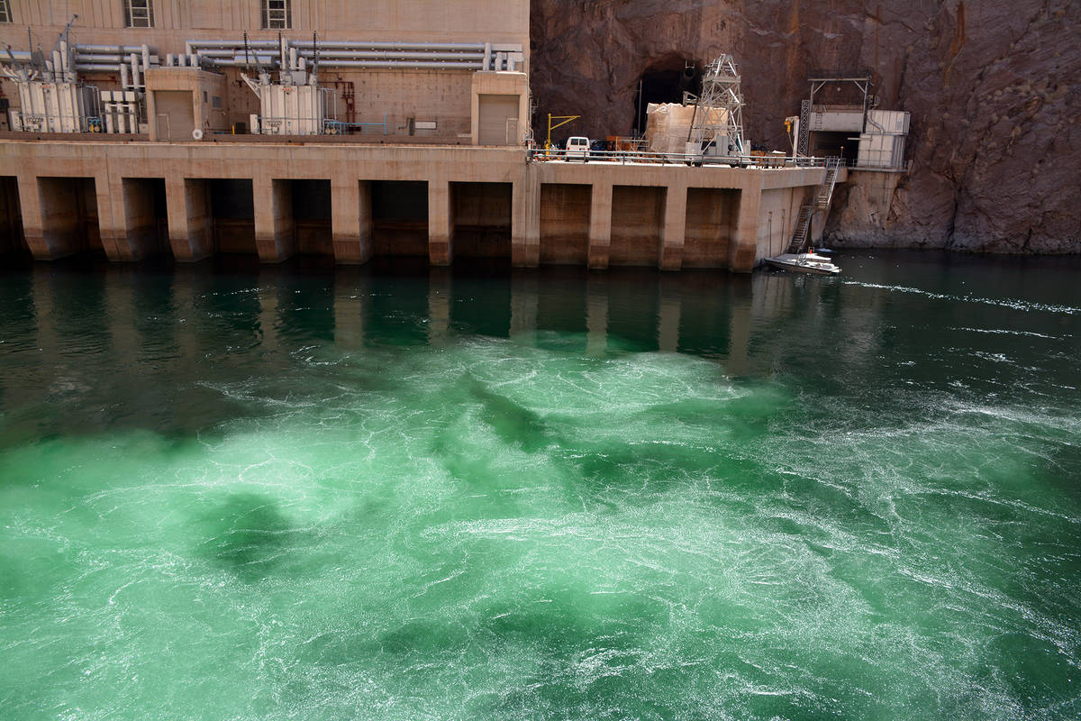 Celia Shortt Goodyear/Boulder City Review Water at Hoover Dam bubbles to the surface as generat ...