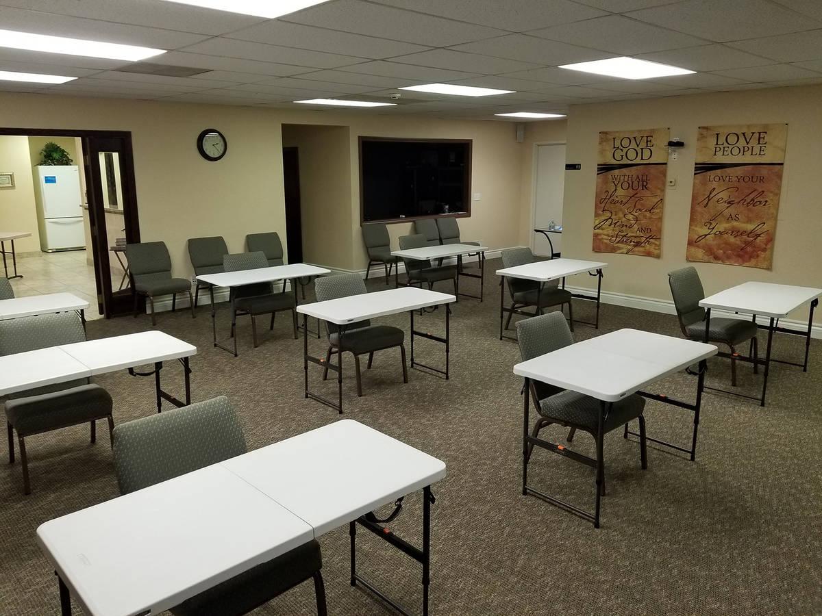 (Calvary Chapel) Calvary Chapel, 1000 Nevada Way, has set up individual tables for students wh ...