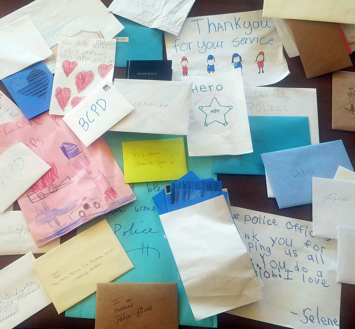 Jason King Calvary Chapel collected hundreds of thank-you cards for local first responders and ...