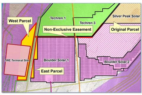 Boulder City Silver Peak Solar LLC will be leasing more land, seen in yellow, in the Eldorado V ...