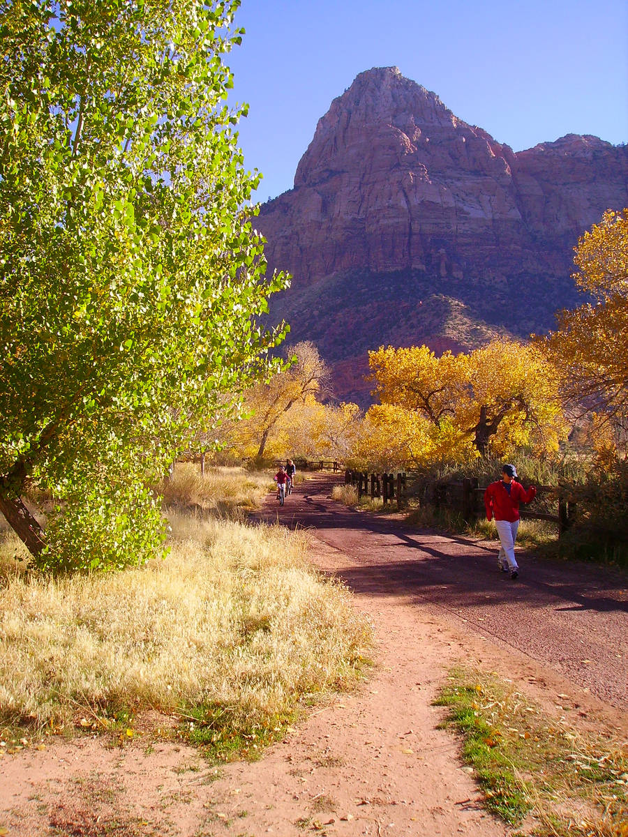 (Deborah Wall) The paved Pa'rus Trail in Zion National Park in Utah is open to all hiker ...