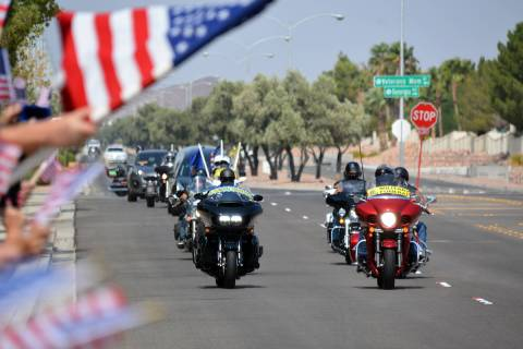 Celia Shortt Goodyear/Boulder City Review The Southern Nevada Patriot Guard Riders escort the b ...