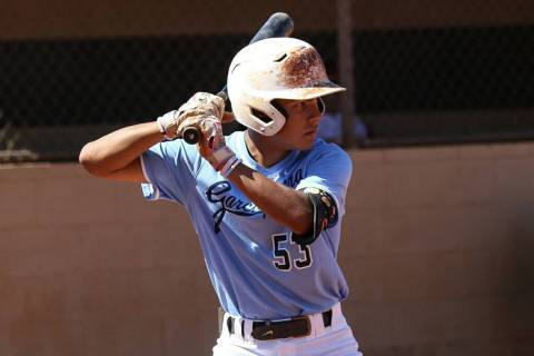 (Yong Dawson Photography) Jet Gilliam, a sophomore at Boulder City High School, awaits his pitc ...