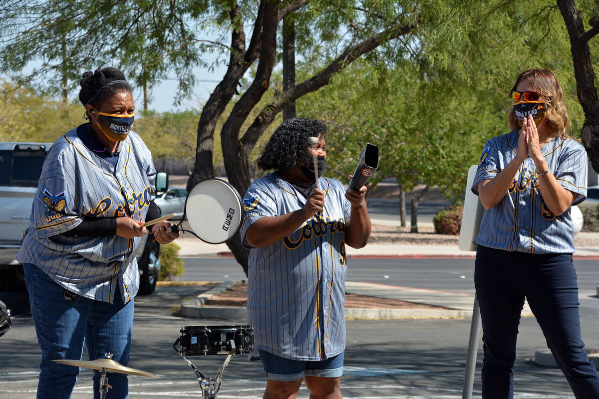Celia Shortt Goodyear/Boulder City Review King Elementary School staff members, from left, Chri ...