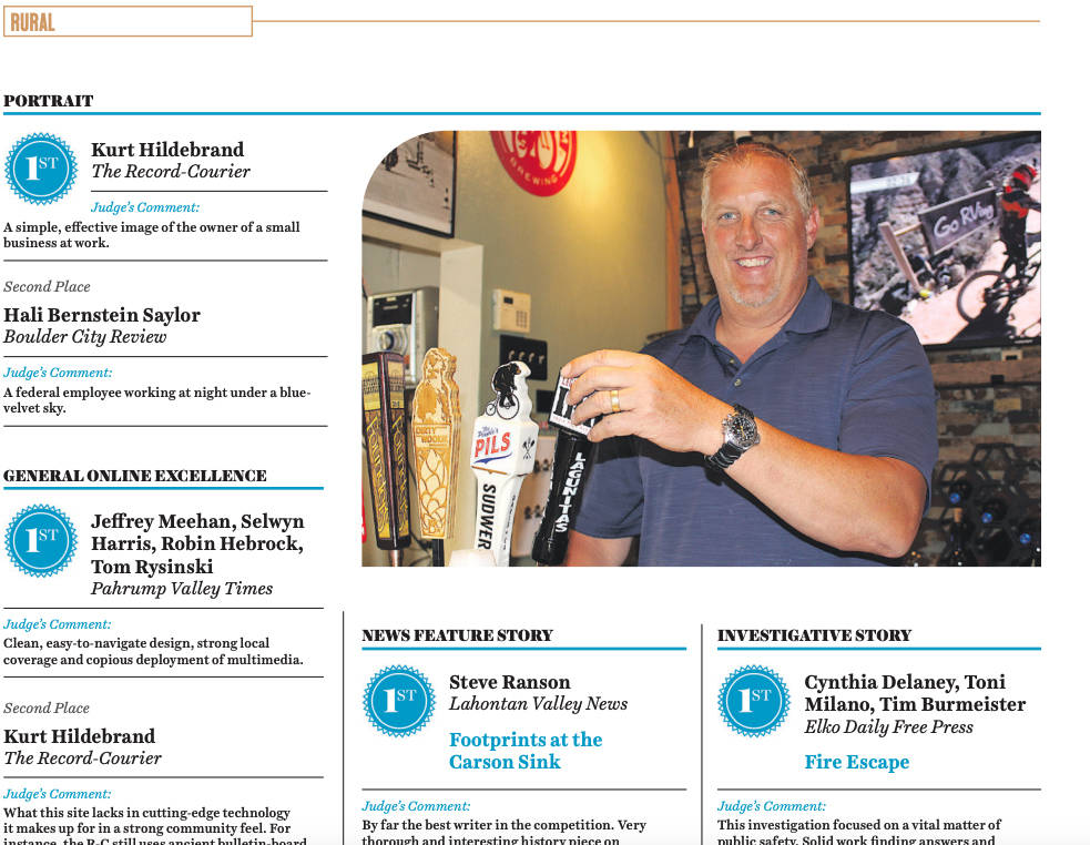 (Boulder City Review) The Boulder City Review received five awards in the Nevada Press Foundati ...